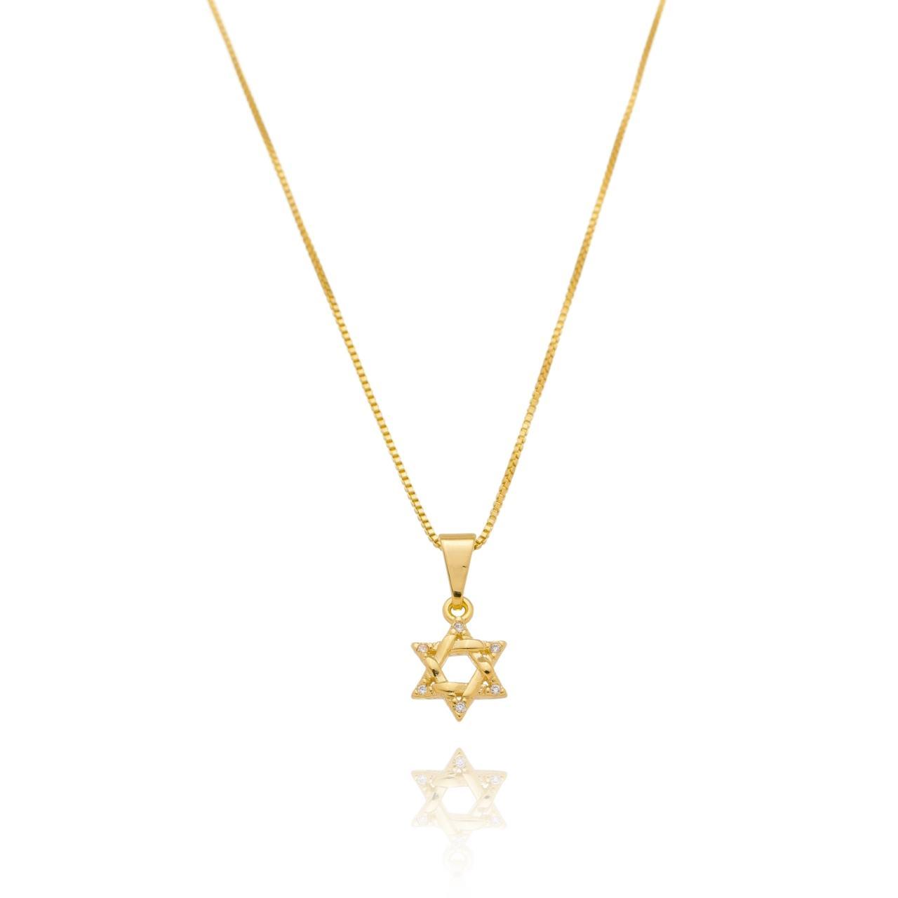 Colar Estrela de Davi com Zircônias Banhado em Ouro 18K