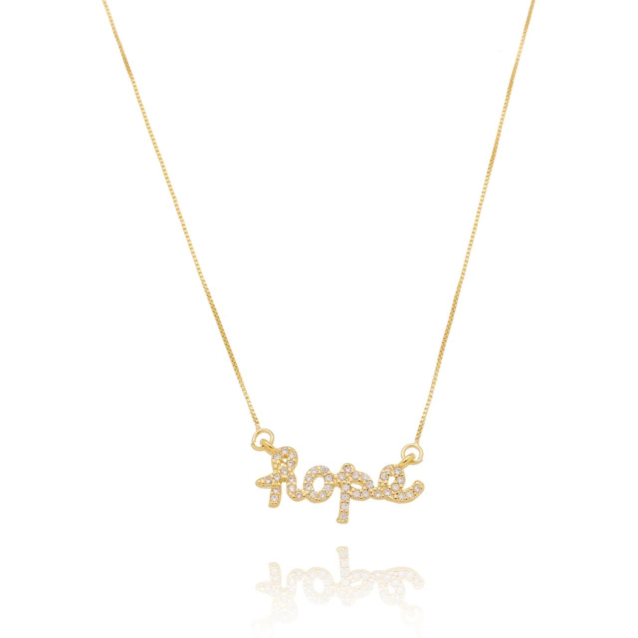 Colar Hope (Esperança) Cravejado com Zircônias Banhado em Ouro 18K