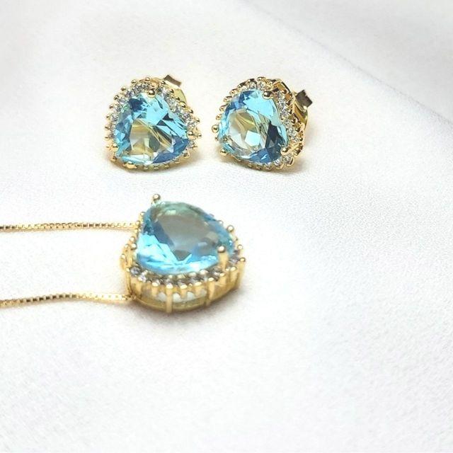 Conjunto de Colar e Brinco Coração Azul Turquesa Cristal Banhado em Ouro 18k
