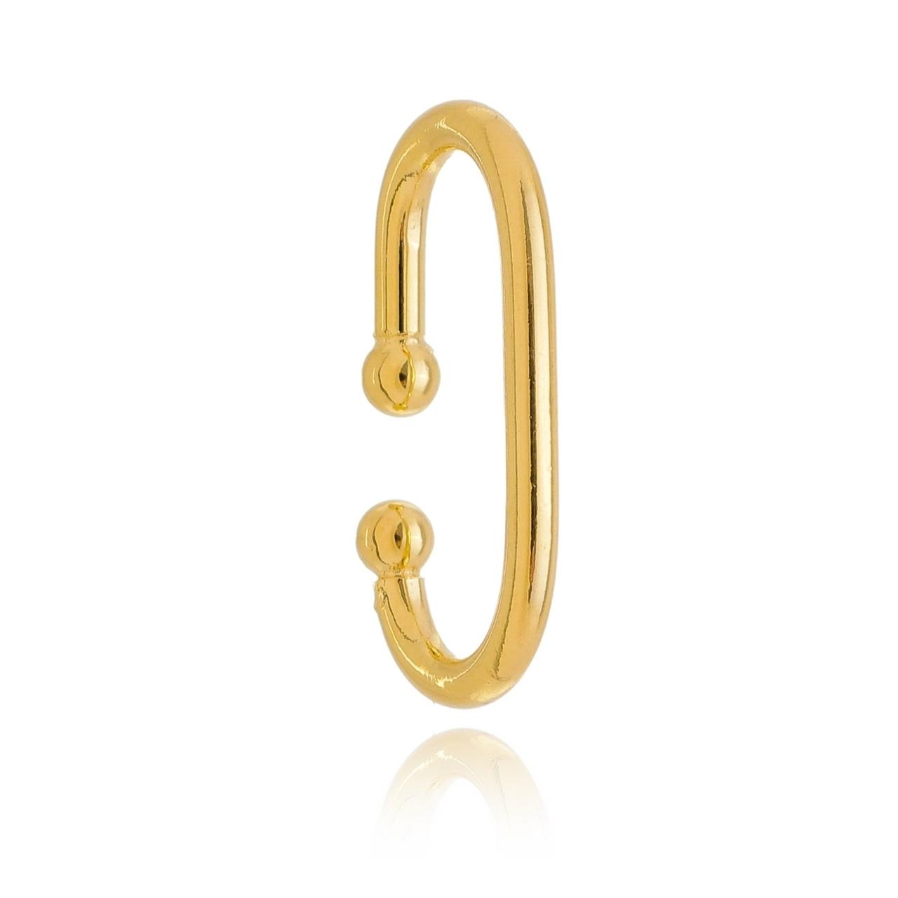 Piercing Ear Hook Liso Banhado em Ouro 18K