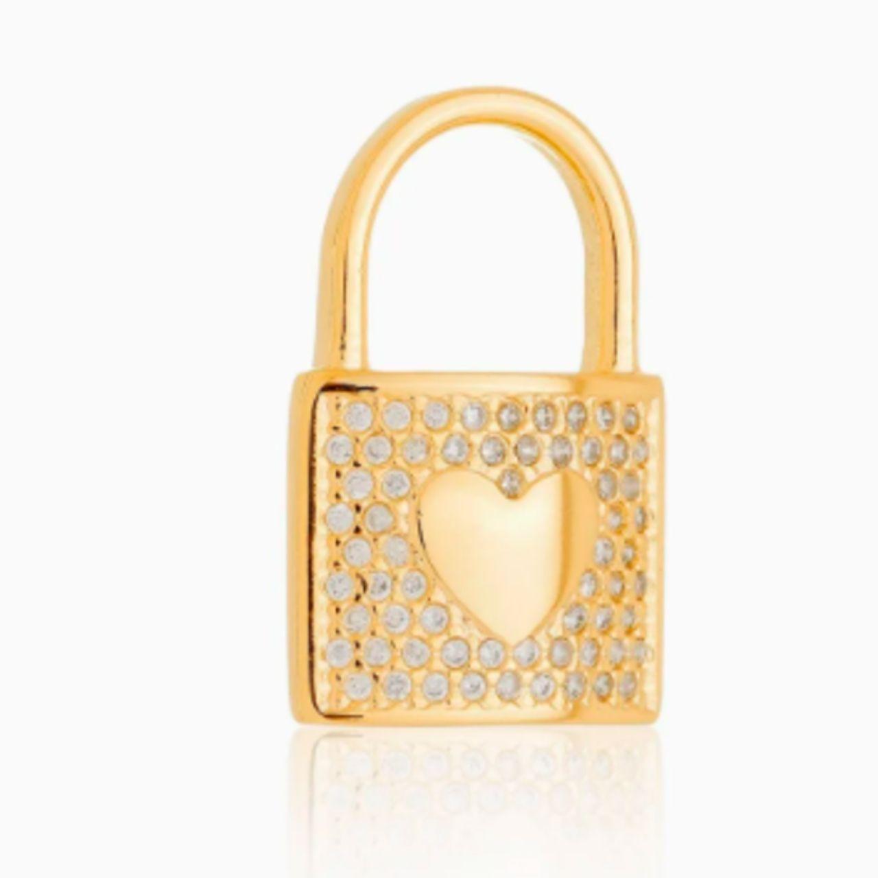 Pingente Cadeado Coração Cravejado com Zircônias Banhado em Ouro 18k
