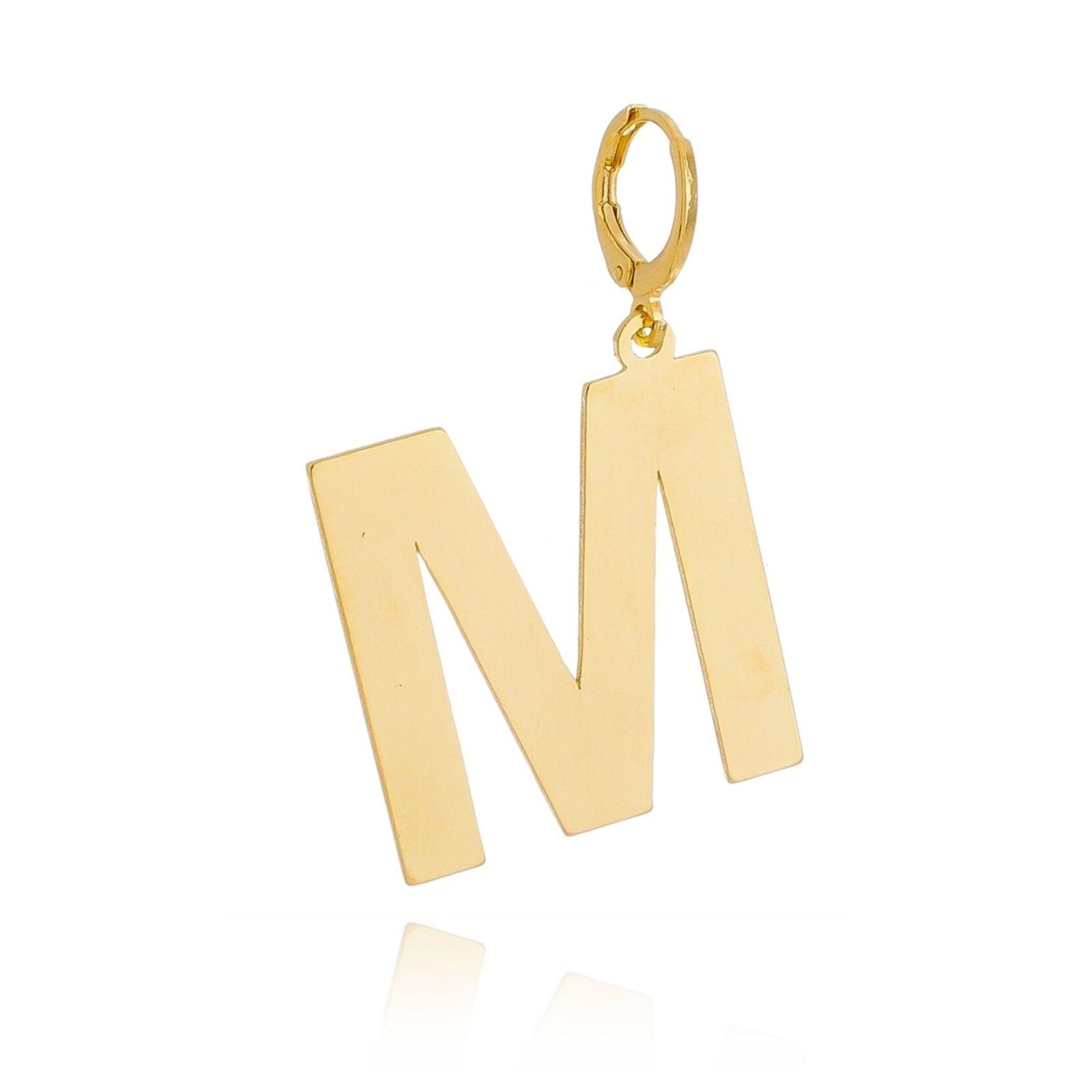 Pingente Letra Serifada Banhado em Ouro 18k