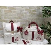 Kit Bolsa Maternidade 3 peças Duna Off White com Bordo