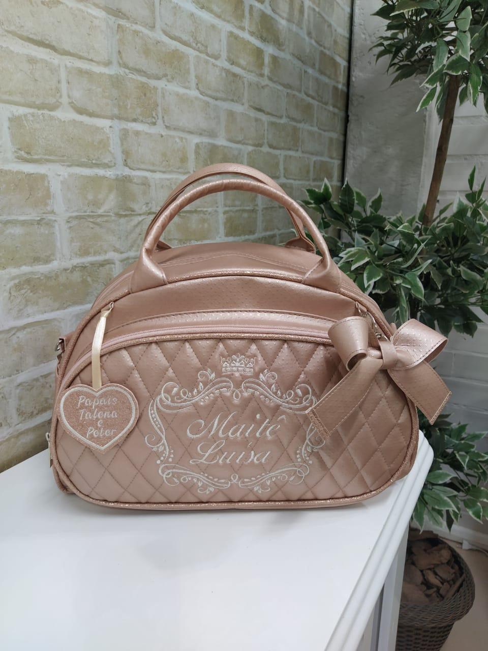 Bolsa Maternidade Perolizado Lótus Ouro Rosa