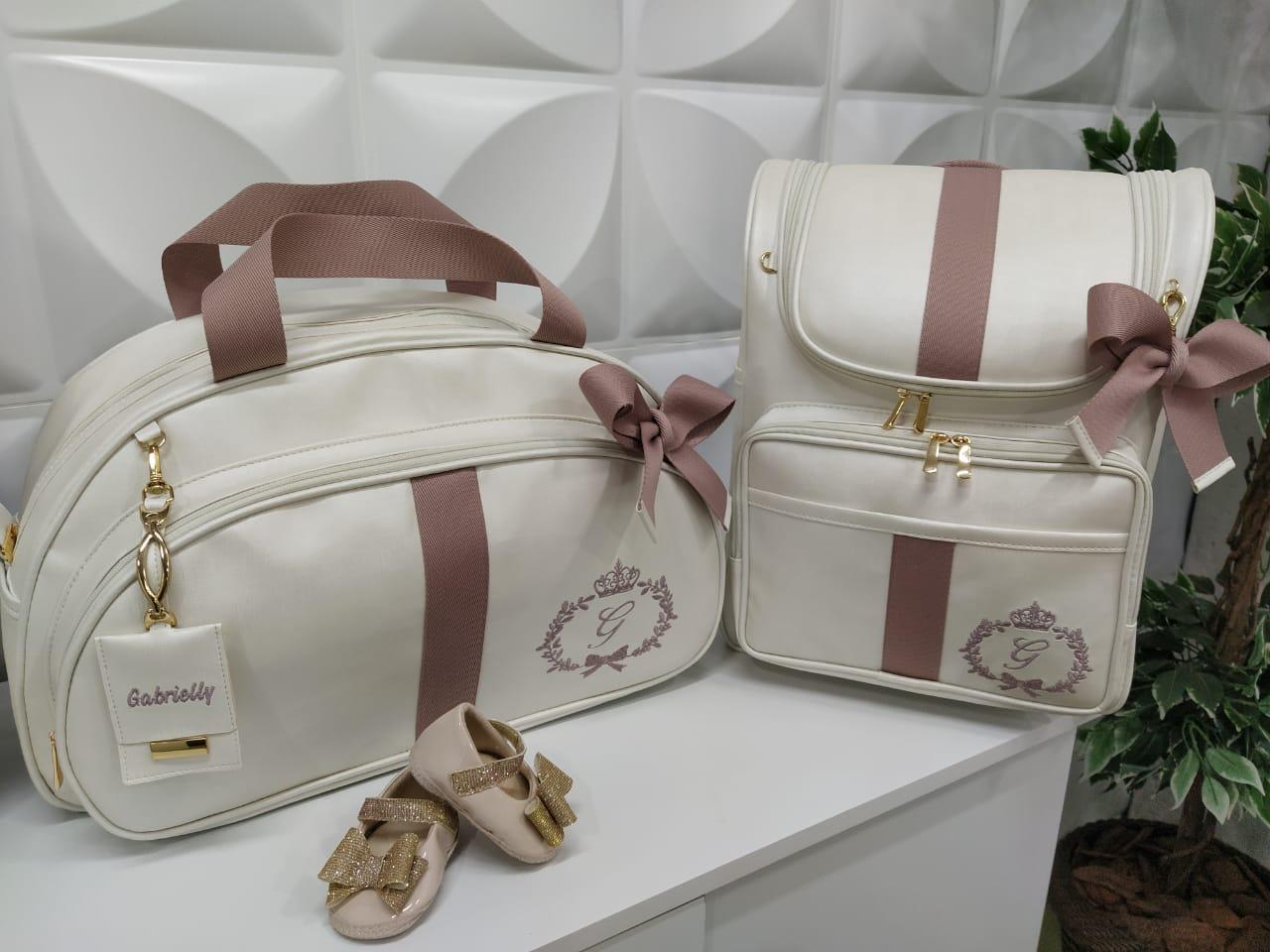 Kit Bolsa Maternidade G + Mochila Duna Off White com Fita Rose