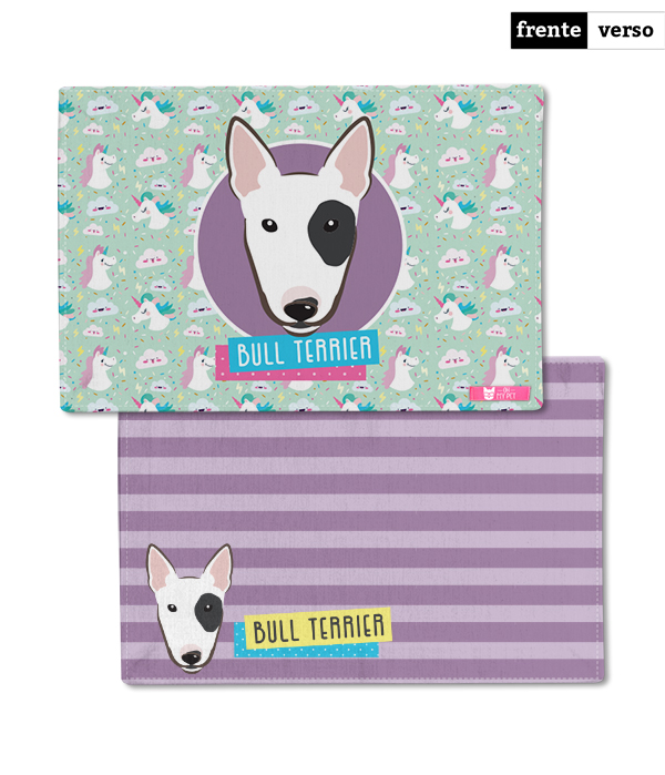 Tapete Dupla Face para Comedouro | Bull Terrier