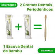 Kit 2 Cremes Dentais Periodônticos + 1 Escova Dental de Bambu de Brinde