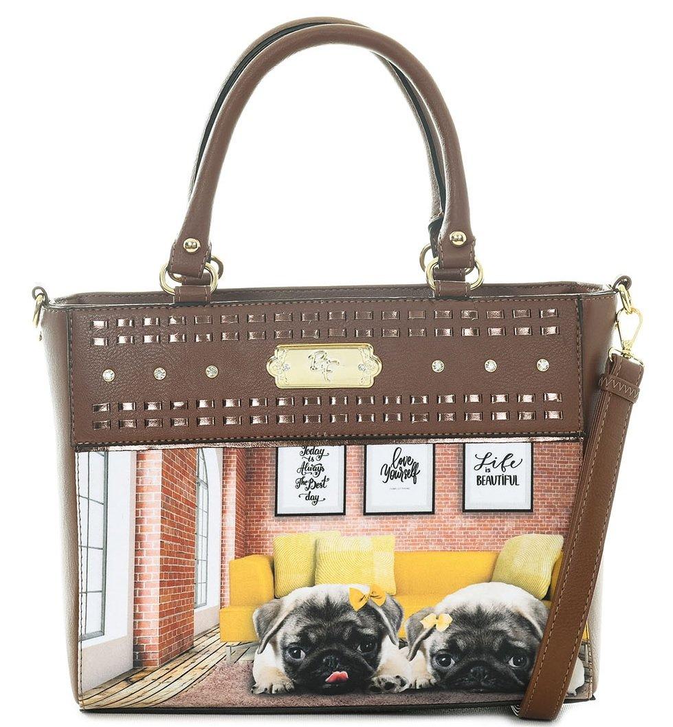 Bolsa Feminina Rafitthy Pug Yellow Life (marrom)