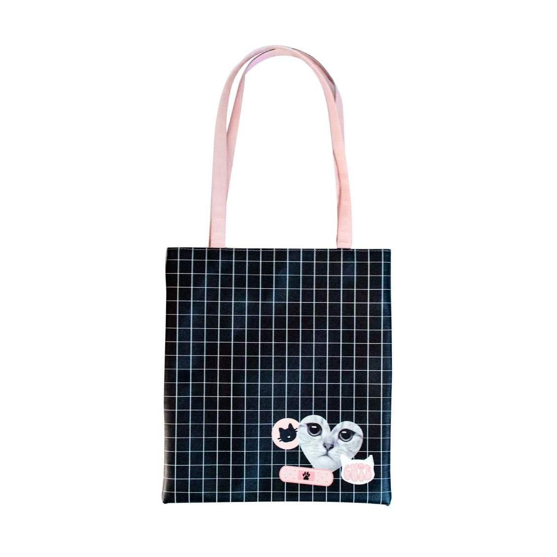 Bolsa Tote Bag Cat Gatinha   Cor: Preto/Rosa