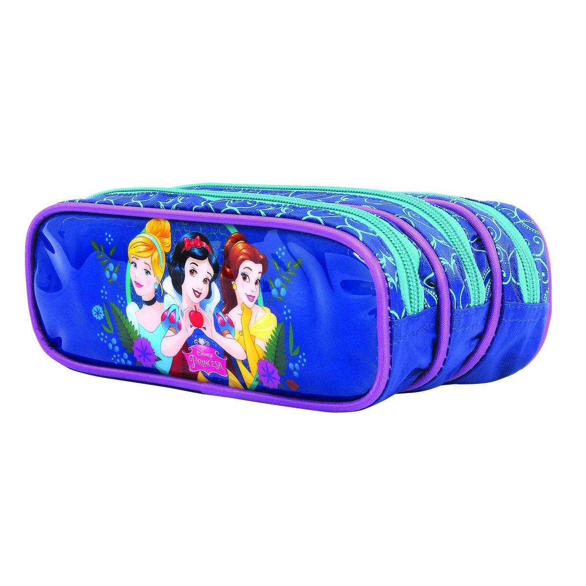 Estojo Triplo Princesas Disney | Cor: Azul