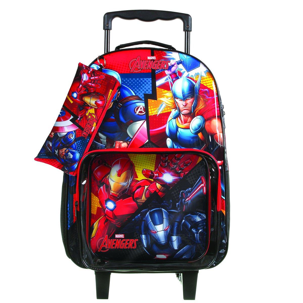 Kit Escolar Avengers Mochila + Lancheira + Estojo  Preto