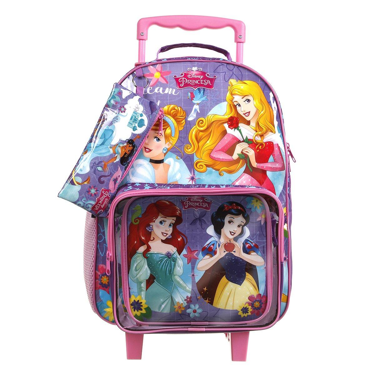 Kit Escolar Princesas Mochila + Lancheira + Estojo  Rosa