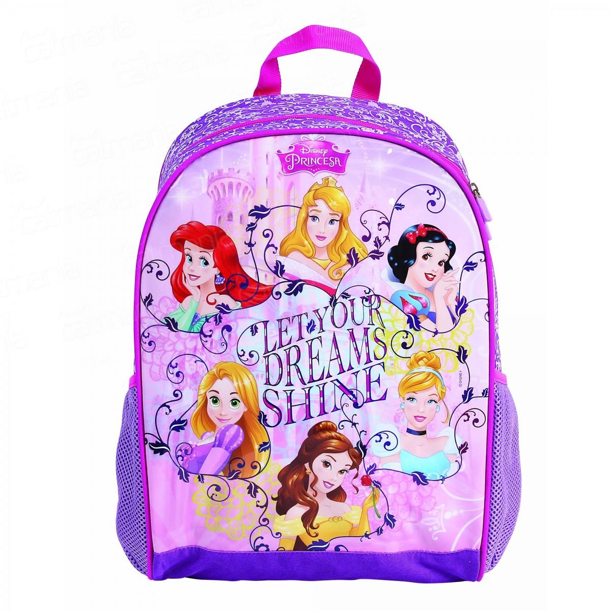 Mochila de Costas Disney Princesas Grande Roxa