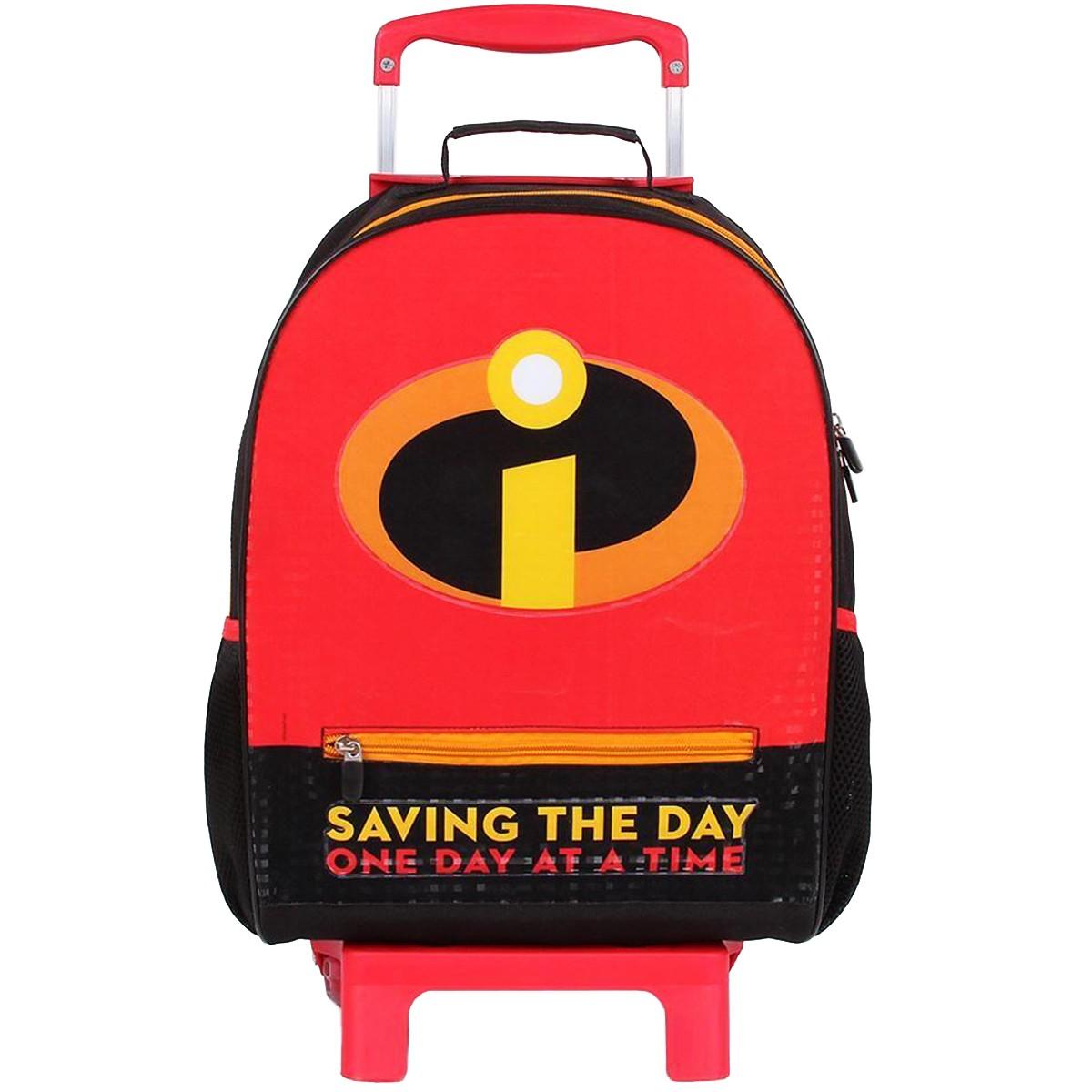 Mochila de Rodinhas Disney Pixar Os Incríveis Saving the Day | Cor: Preto