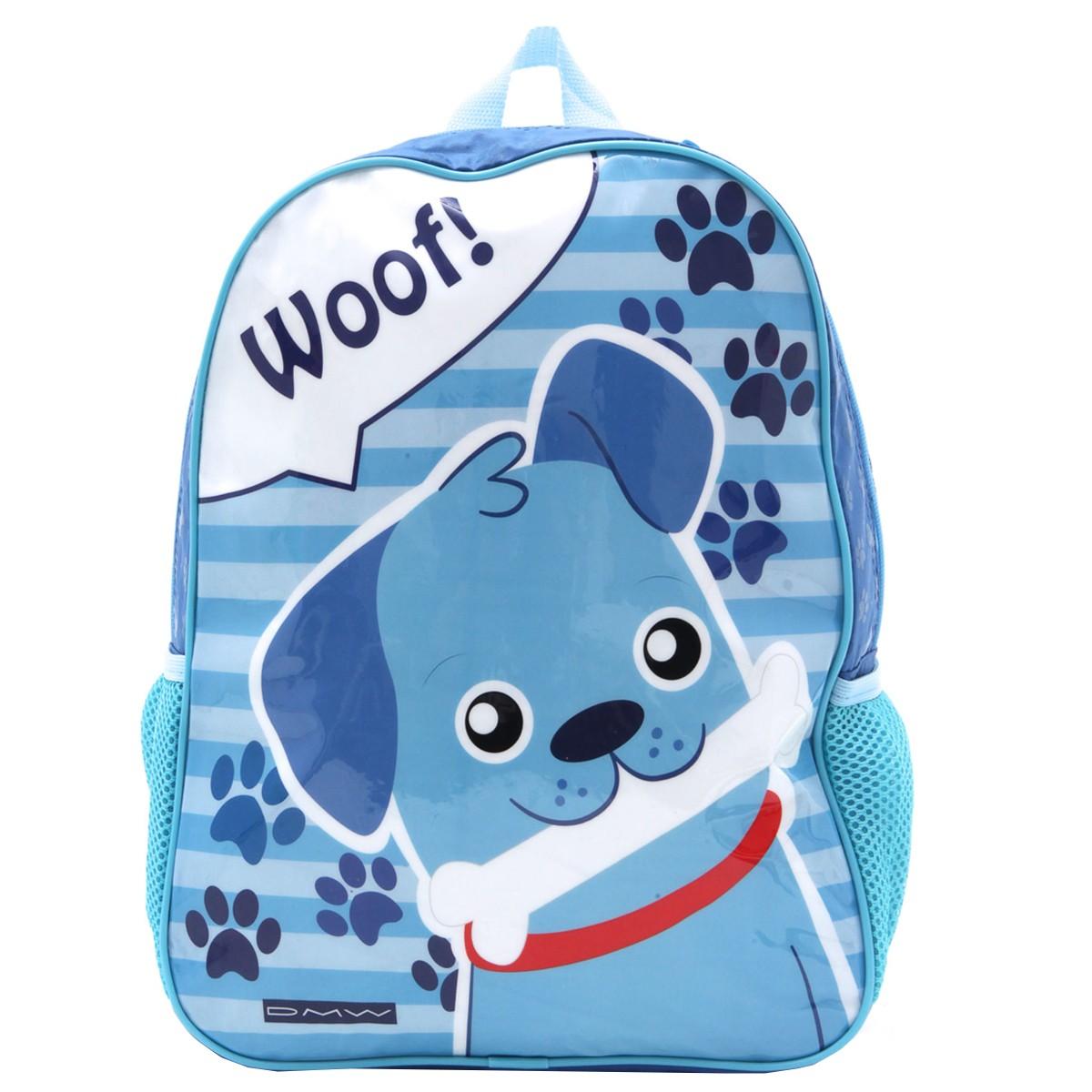 Mochila Escolar Cachorro   Cor: Azul