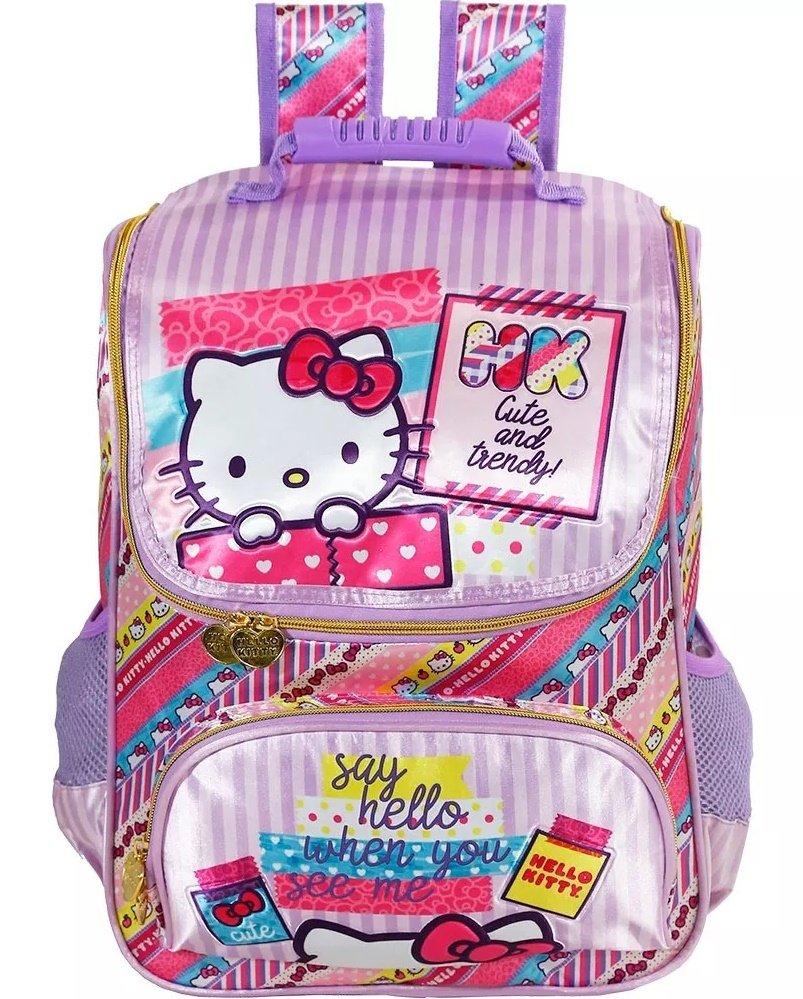 Mochila Escolar Hello Kitty   Cor: Rosa