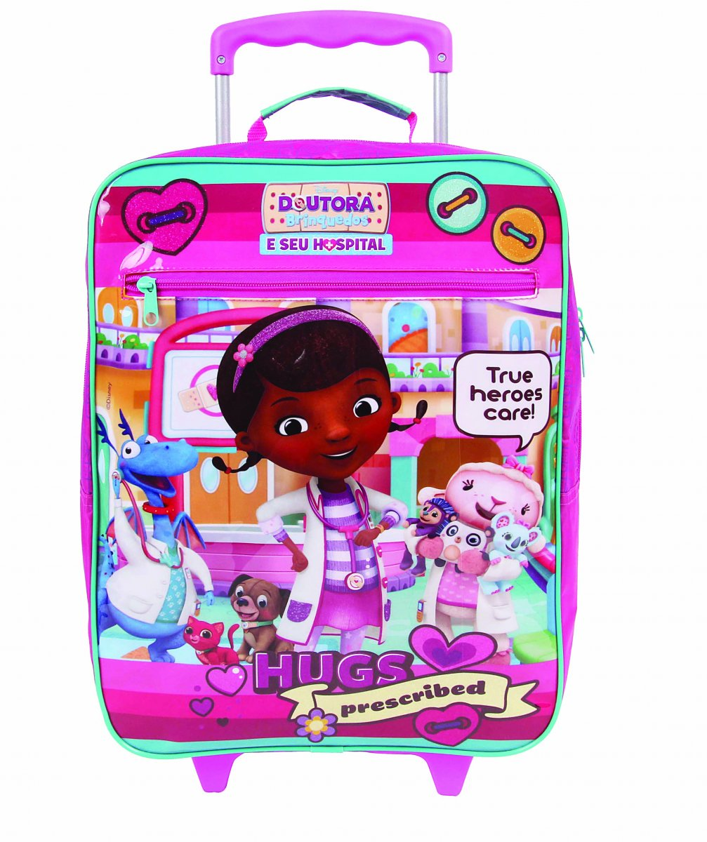 Mochila Rodinha Disney Doutora Brinquedos   Cor: Rosa