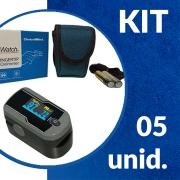 Oxímetro de Pulso de Dedo Com Onda e Tela Rotacional - Kit 05 unid