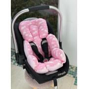 Colchão para Bebê Conforto-  Nuvem com Poá Rosa Bebê