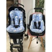 Kit Colchão Carrinho e Bebê Conforto - Nuvem com Poá Azul