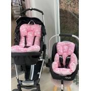 Kit Colchão Carrinho e Bebê Conforto - Nuvem Rosa
