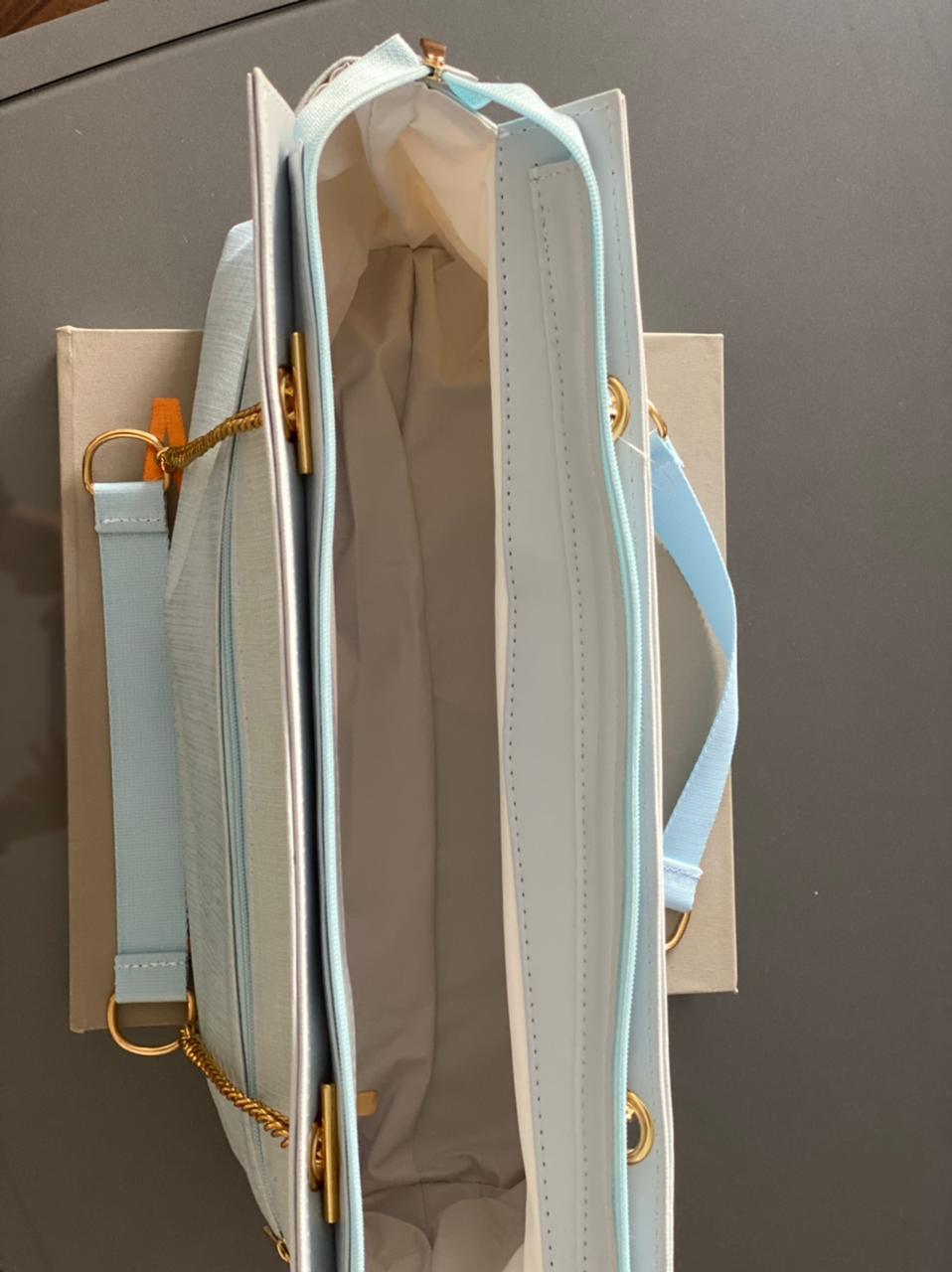 Bolsa Layla - Linho Azul Bebê  Layla
