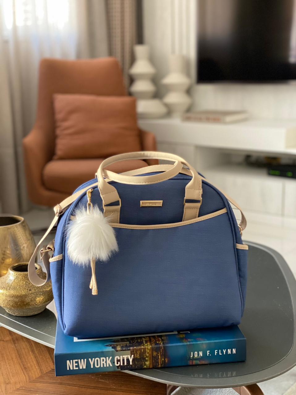 Bolsa Média -  Linho Azul Marinho Layla