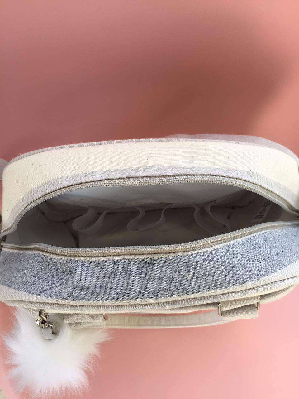 Bolsa Pequena - Listra Azul e Cinza