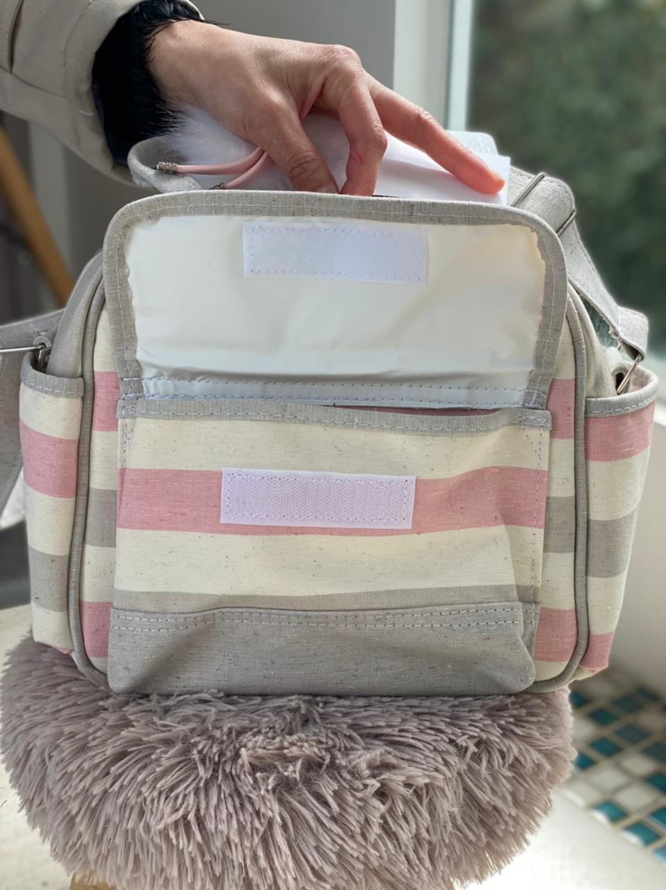 Bolsa Pequena - Listra Rosa e Cinza