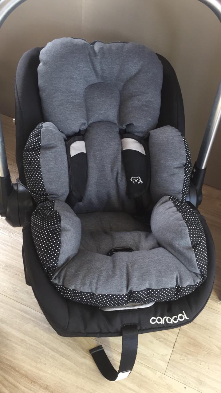 Colchão Bebê Conforto -  Chumbo / Poá Preto