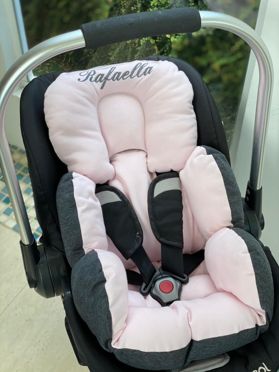 Colchão Bebê Conforto - Chumbo / Rosa Liso