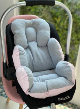 Colchão Bebê Conforto -  Cinza / Poá Rosa