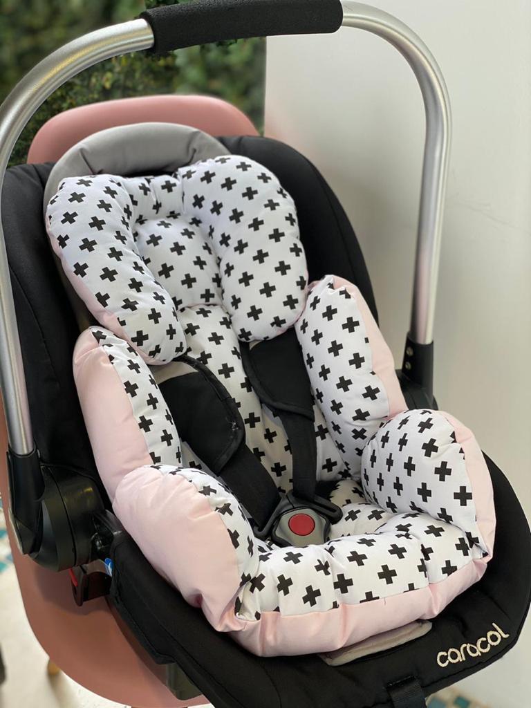 Colchão para Bebê Conforto -  Monocromático com Rosa Liso