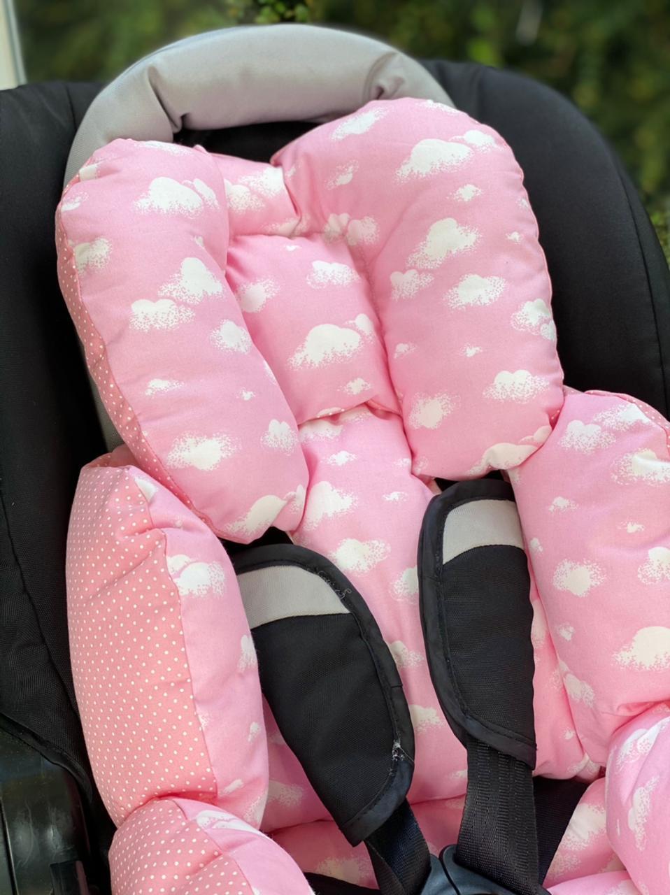 Colchão para Cadeirinha de Carro  Nuvem com Poá rosa