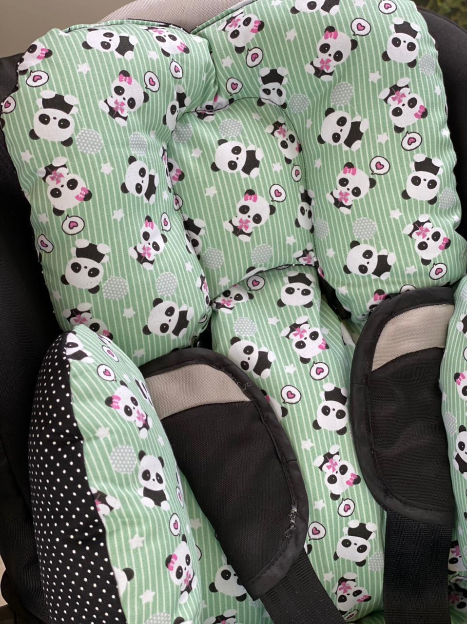 Colchão para Cadeirinha de Carro - Panda Verde  poá preto