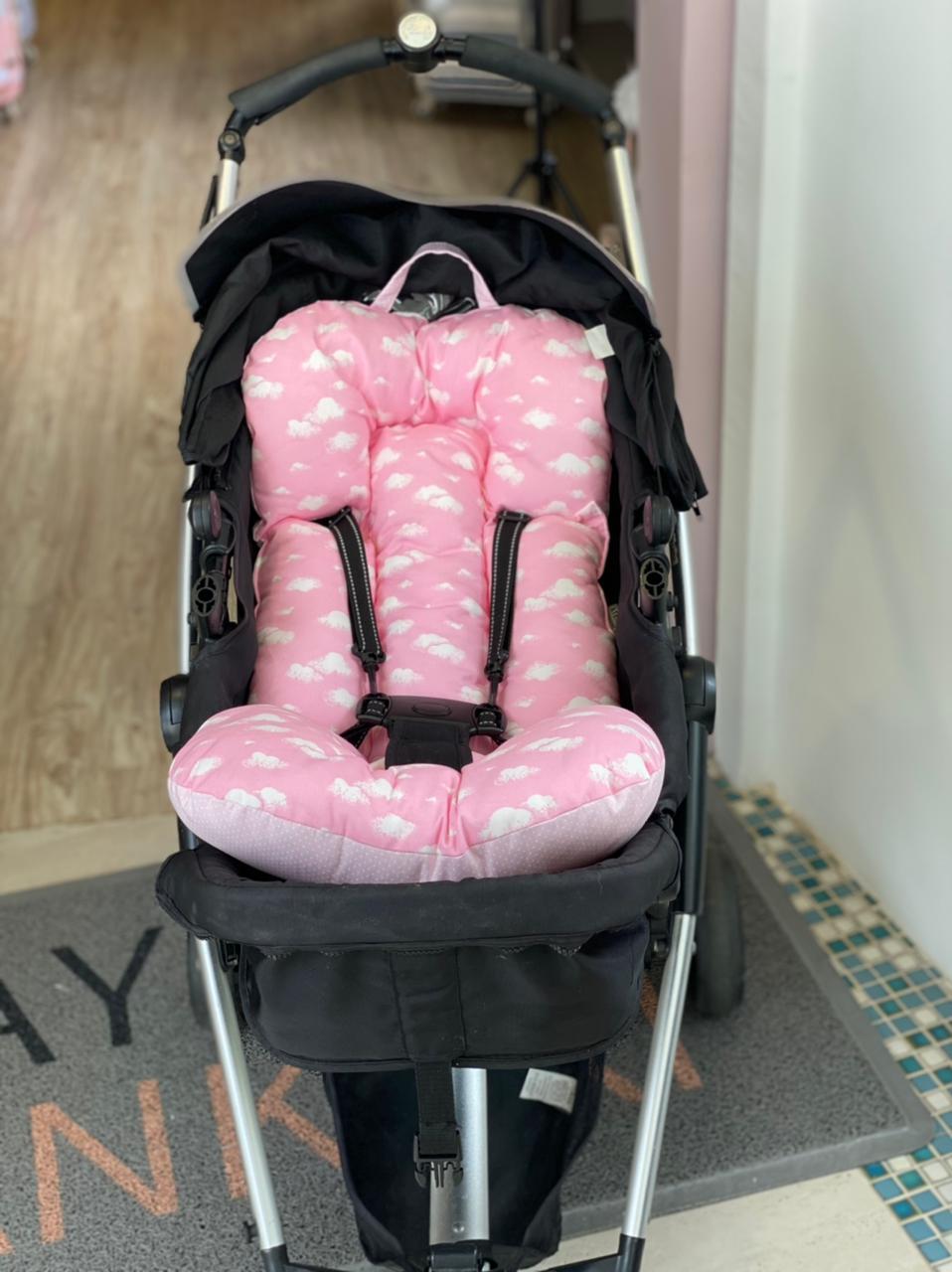 Colchão para Carrinho - Nuvem com Poá Rosa Bebê