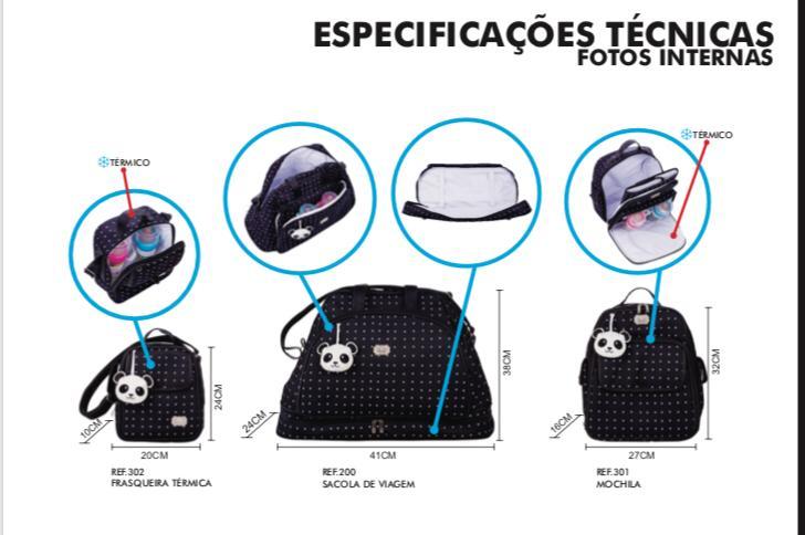 Kit 3 Bolsas - Poá Azul