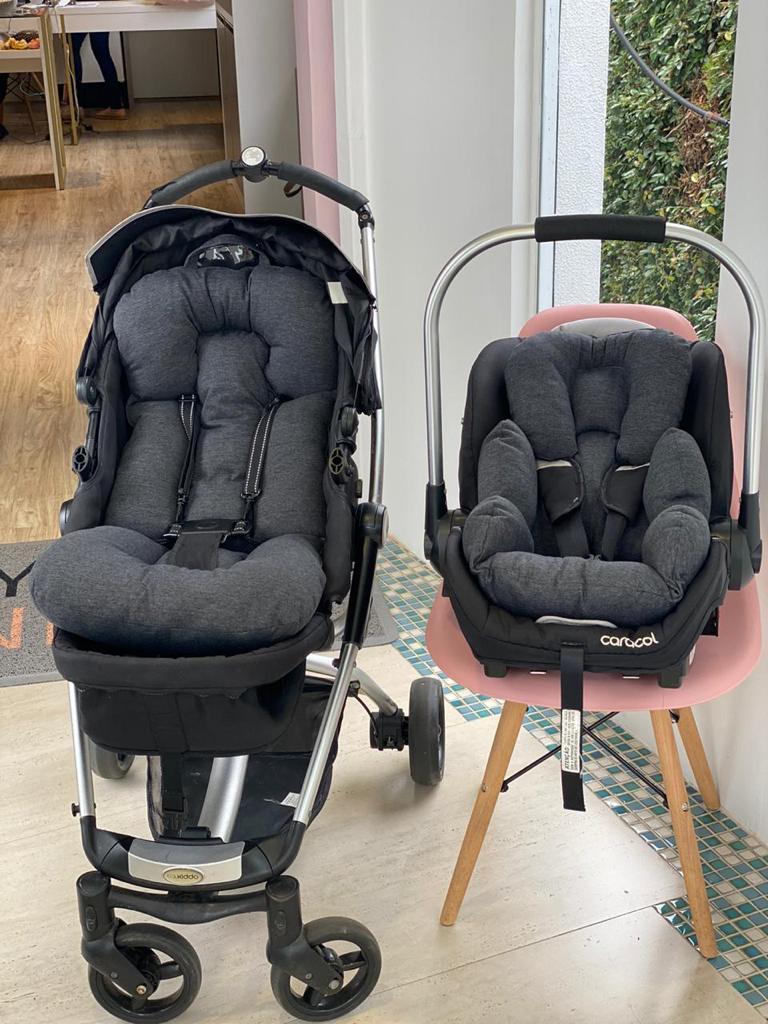 Kit Colchão Carrinho e Bebê Conforto - Chumbo