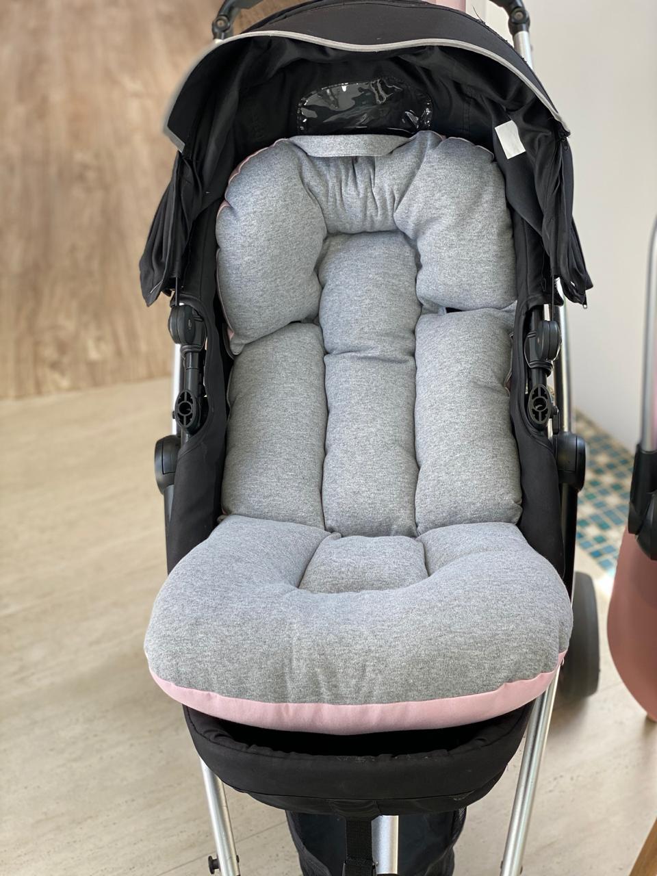 Kit Colchão Carrinho e Bebê Conforto  - Cinza / Poá rosa