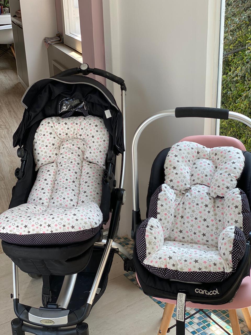 Kit Colchão Carrinho e Bebê Conforto - Estrelas x Poá Preto