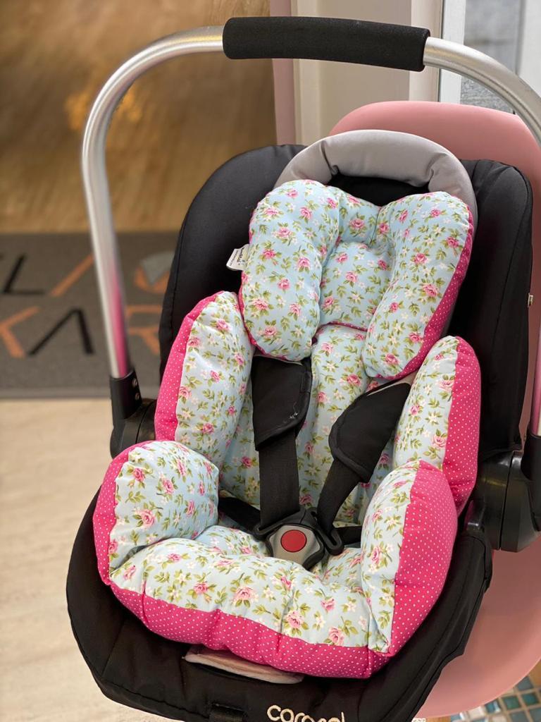 Kit Colchão Carrinho e Bebê Conforto - Floral com Poá Pink