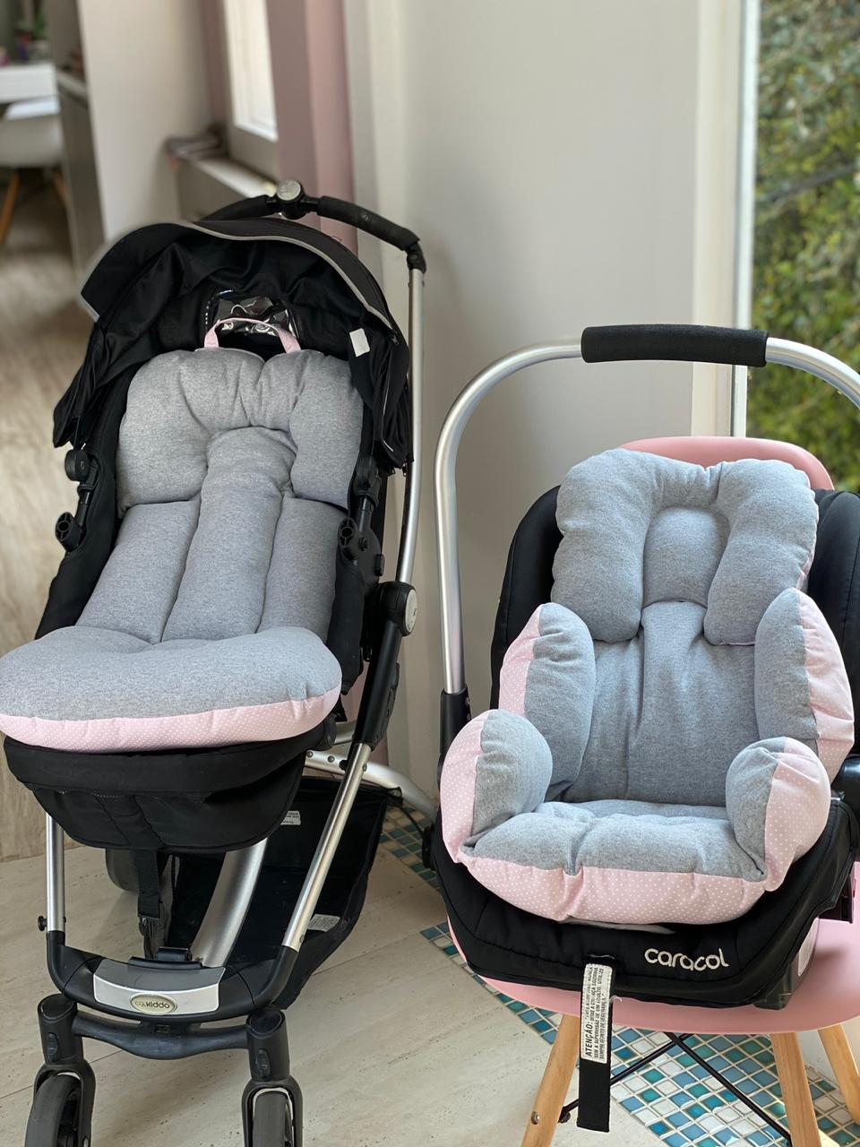 Kit Colchão Carrinho e Bebê Conforto - Mescla cinza poá Rosa