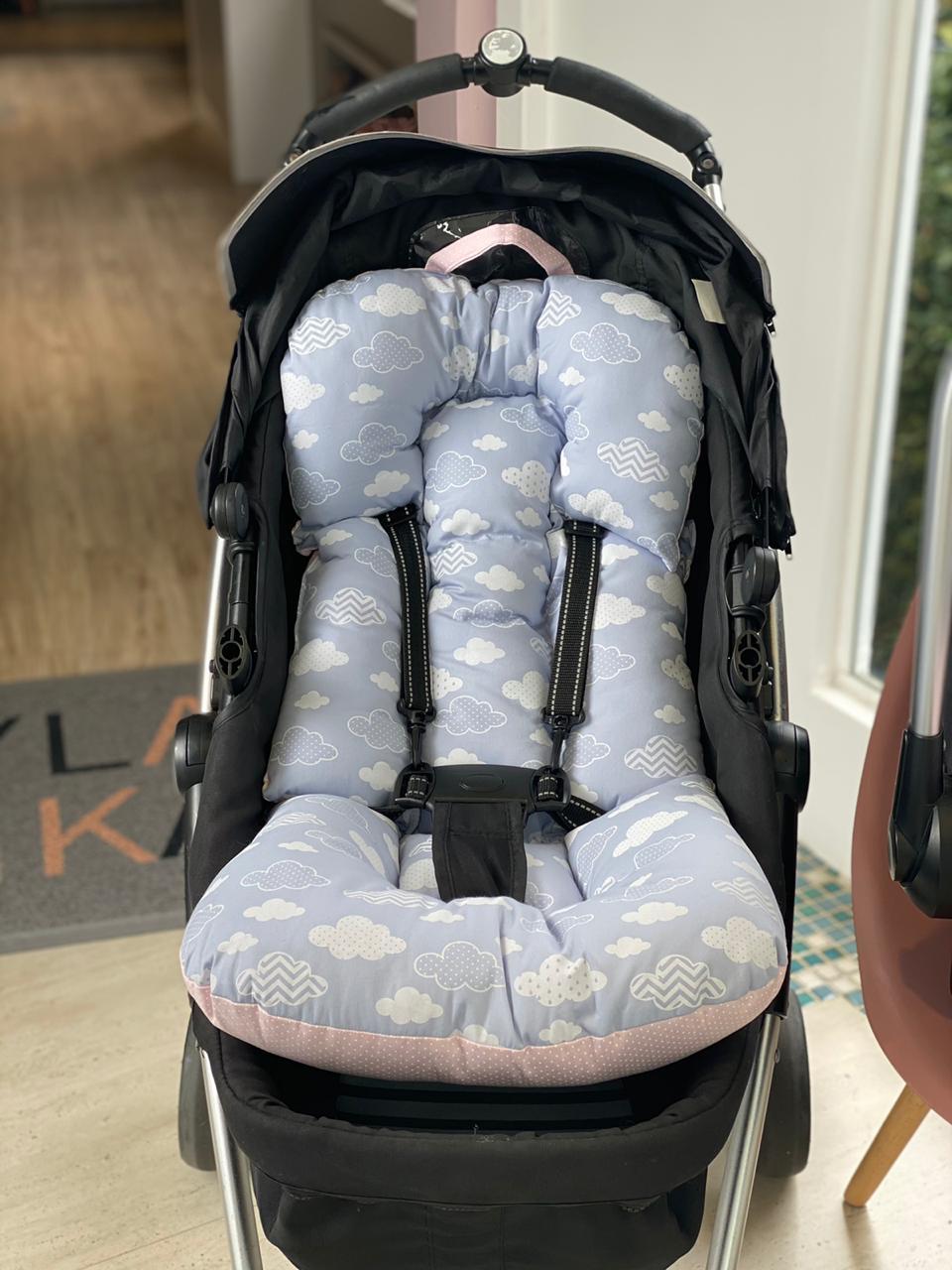 Kit Colchão Carrinho e Bebê Conforto Nuvem Decorada Poá Rosa