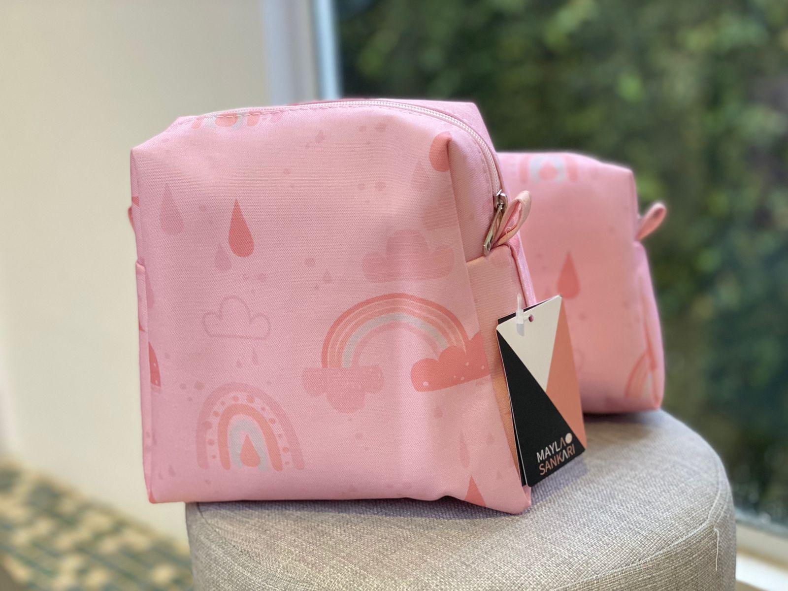 Kit Necessaire Bebê-  Arco Íris - Rosa