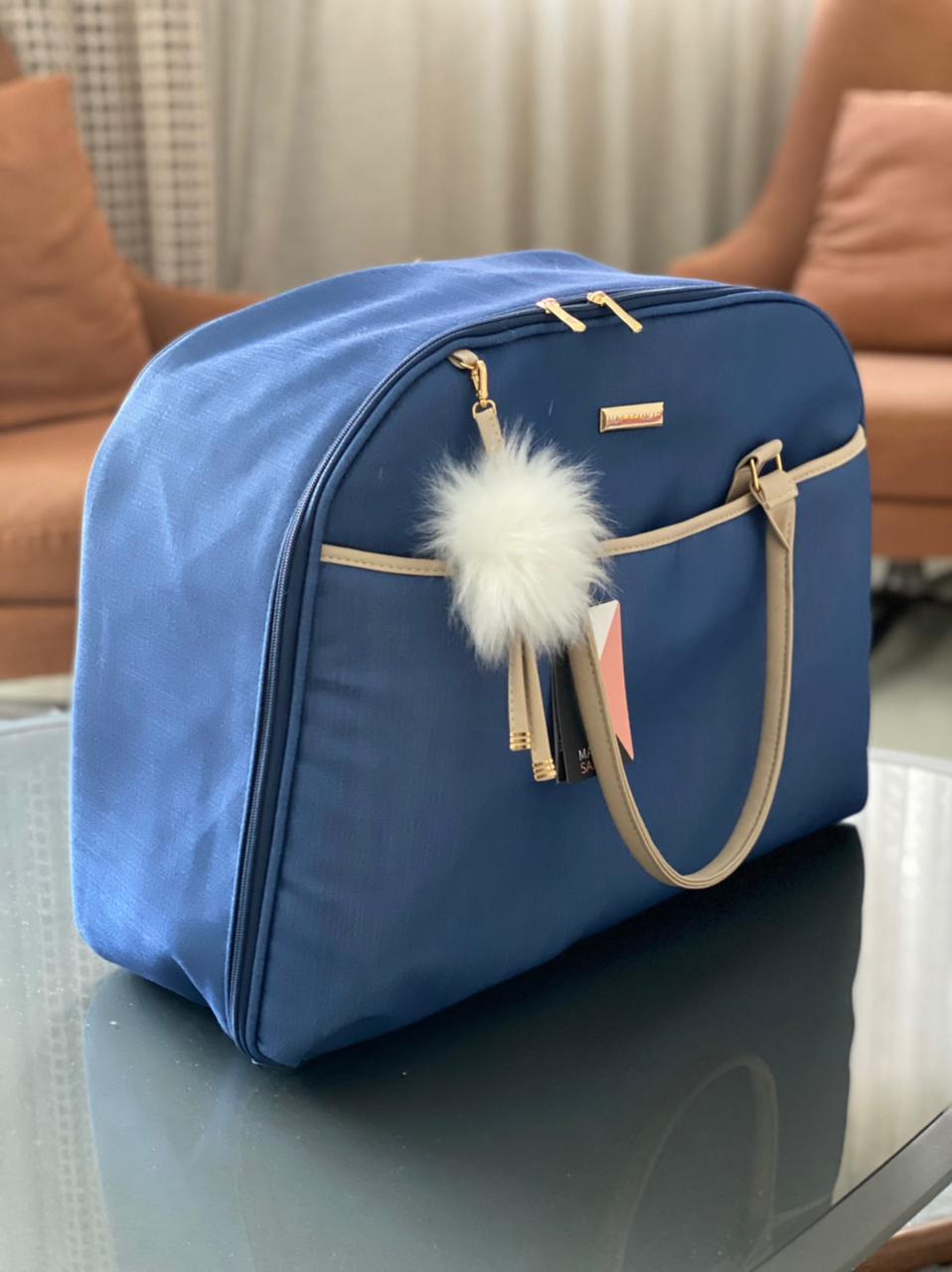 Mala Maternidade -  Linho Azul Marinho Layla