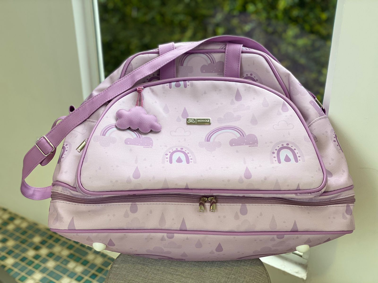 Mala Maternidade Sacola-  Arco Íris - Lilás