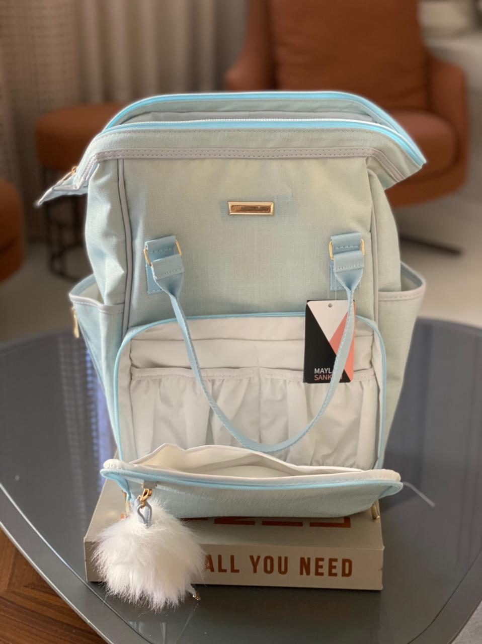 Mochila Funcional -  Linho Azul Bebê Layla
