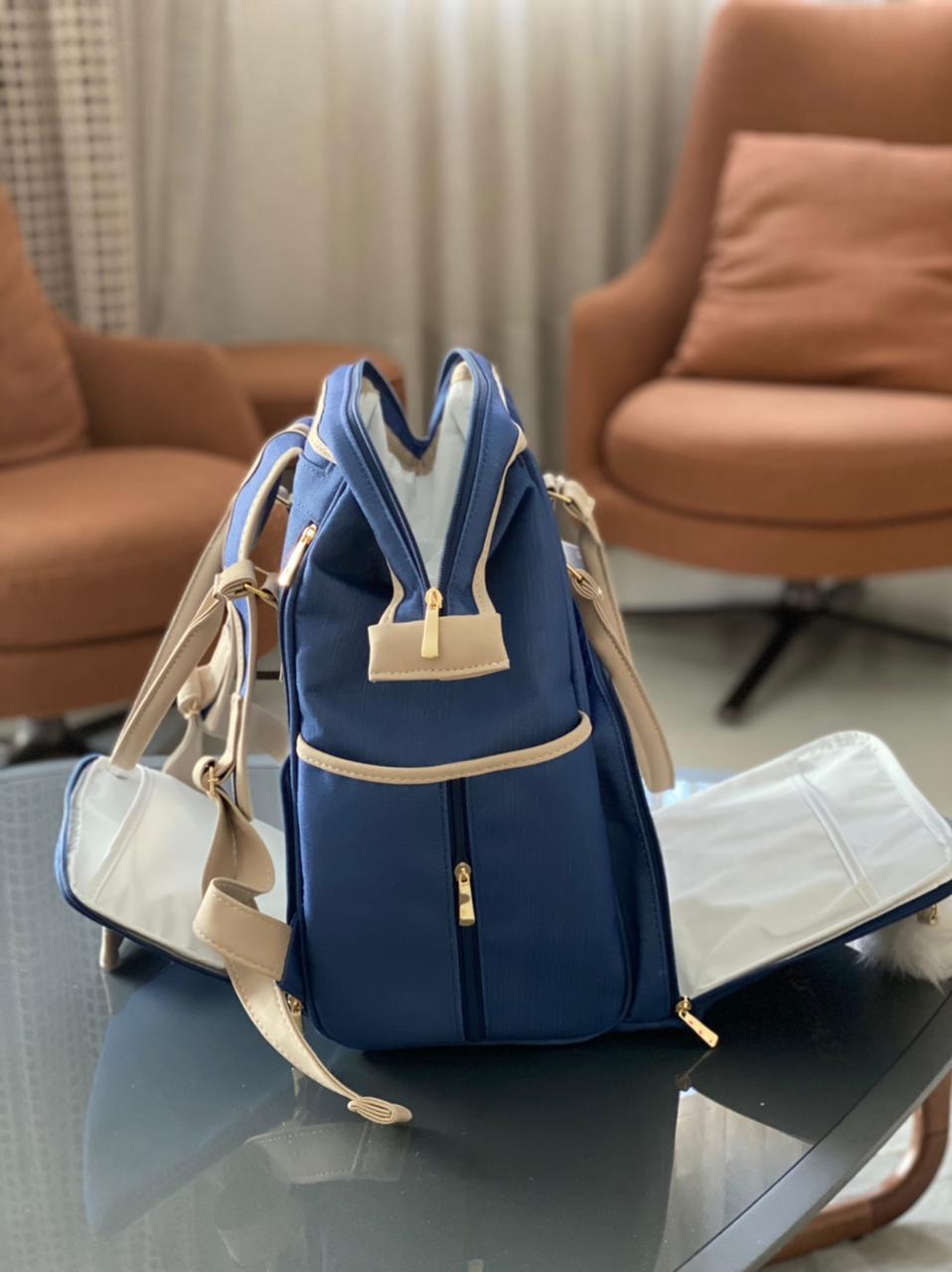 Mochila Funcional -  Linho Azul Marinho Layla
