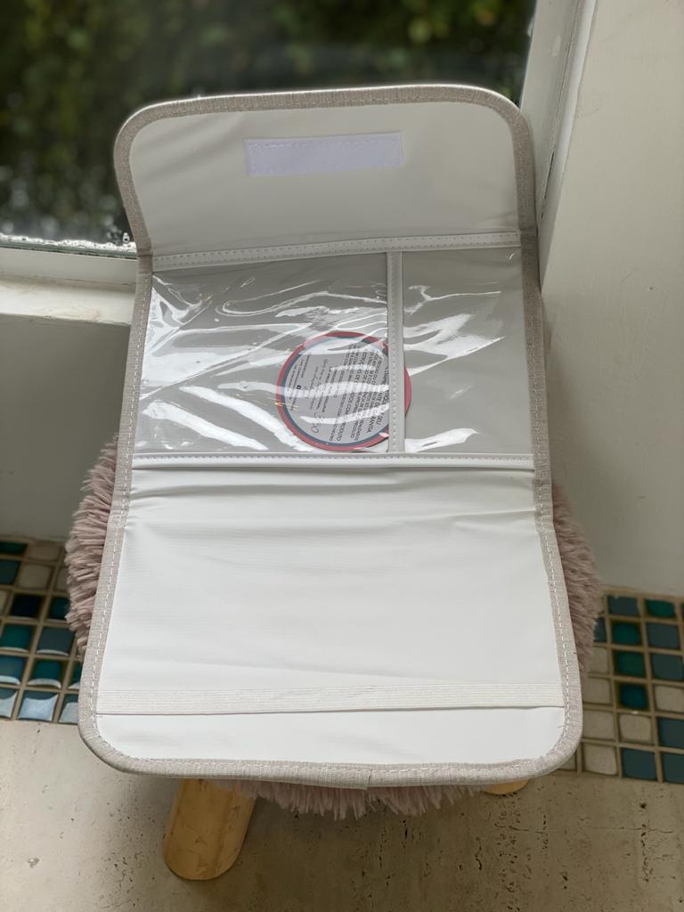 Porta Documentos Vacina-  Listra Azul e Cinza