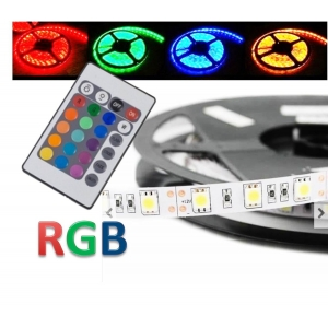 FITA LED 5050 ROLO 5 MTS RGB COM DRIVER E CONTROLE REMOTO
